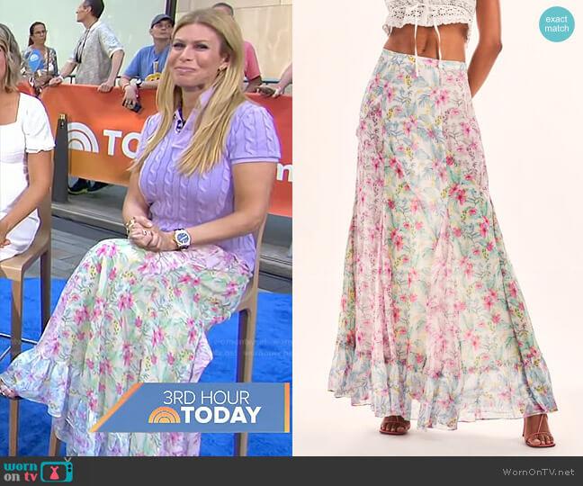 Nappa Maxi Skirt by LoveShackFancy worn by Jill Martin  on Today