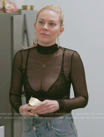 Leah's black mesh top on The Real Housewives of New York City