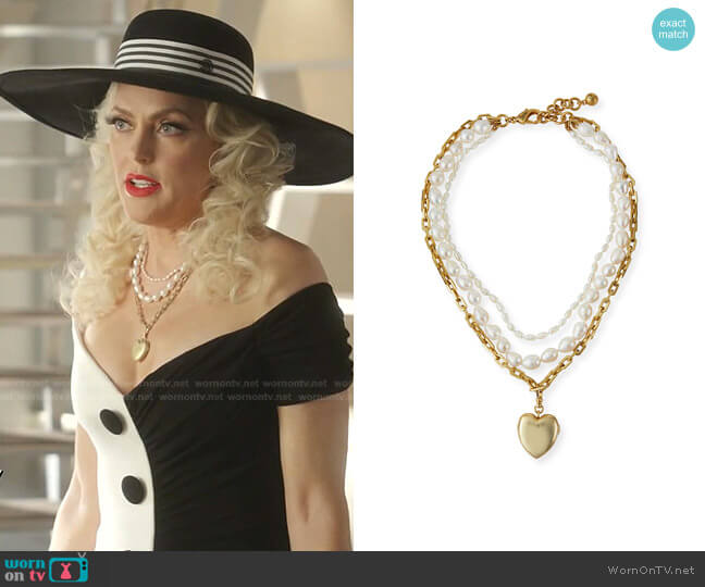 Love of Pearl Heart Locket Necklace by Lulu Frost worn by Alexis Carrington (Elaine Hendrix) on Dynasty