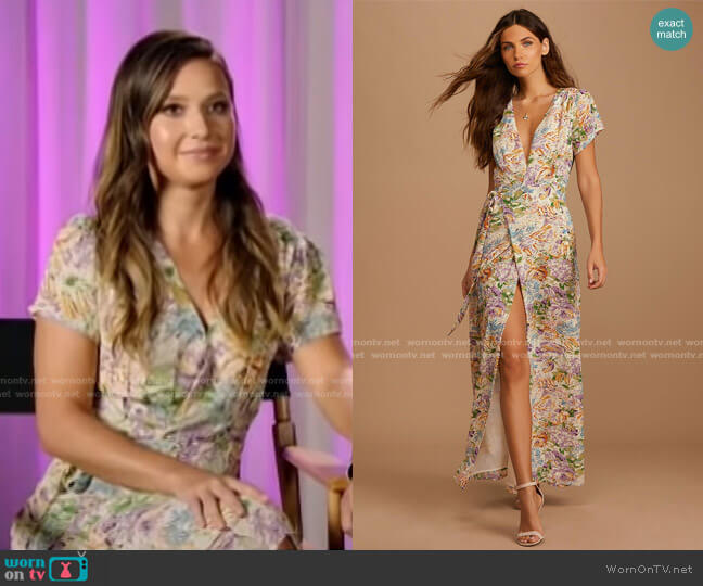 Feels Magical Floral Print Short Sleeve Wrap Dress by Lulus worn by Katie Thurston on E! News Daily Pop