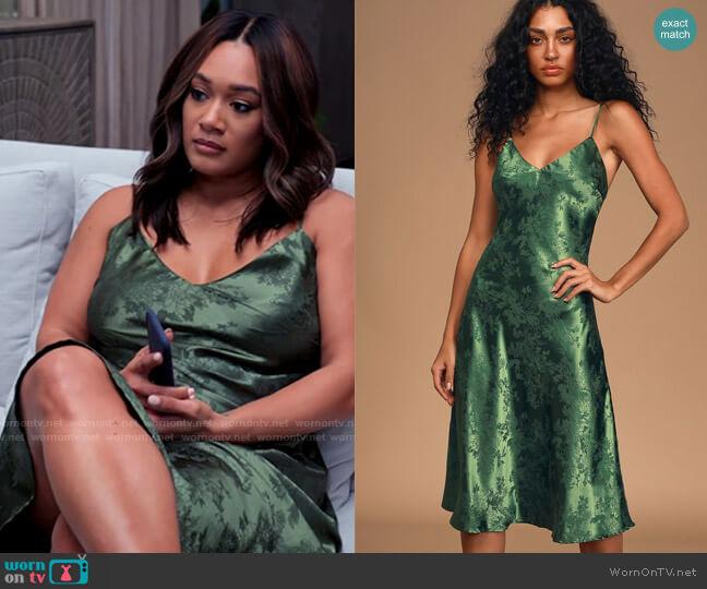 Lulus Calla Love Forest Green Jacquard Satin Slip Dress worn by Fatima (Crystal Hayslett) on Tyler Perrys Sistas