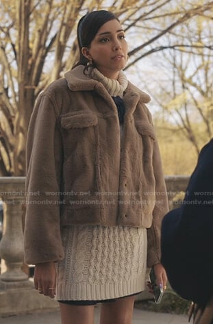 Luna's camel fur jacket and white cable knit sweater dress on Gossip Girl