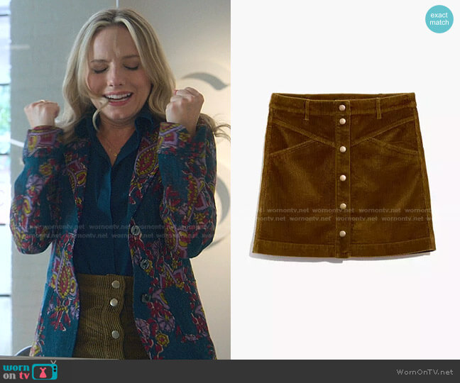 Corduroy A-Line Snap Mini Skirt by Madewell worn by Seri DeYoung on Good Trouble
