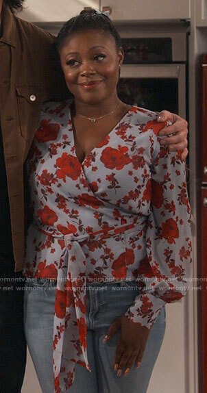 Maeve's floral wrap blouse on iCarly
