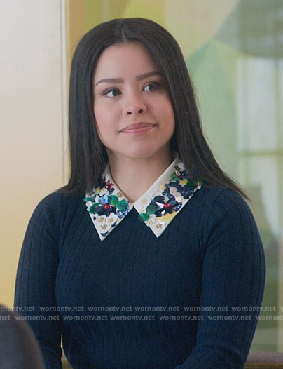 Mariana's navy ribbed sweater with embellished collar on Good Trouble