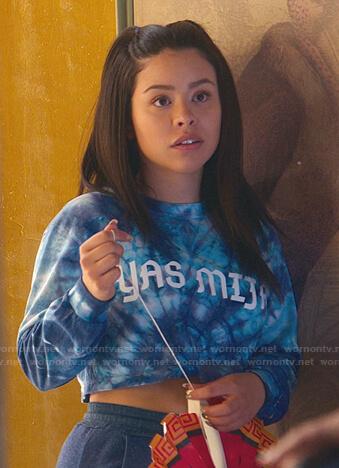 Mariana's blue Yas Mija tie dye top on Good Trouble
