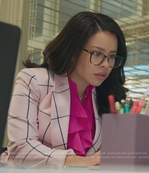 Mariana's pink windowpane blazer on Good Trouble