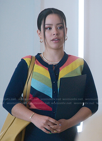 Mariana's rainbow stripe cardigan on Good Trouble