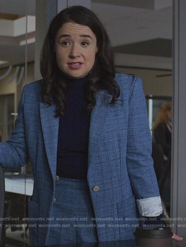 Marissa's blue blazer and shorts on The Good Fight