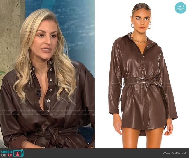 Madi Mini Leather Tunic Dress by Marissa Webb worn by Morgan Stewart  on E! News