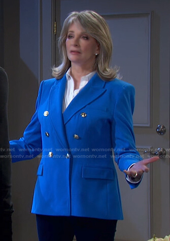 Marlena's blue double breasted blazer on Days of our Lives