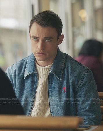 Max's denim bomber jacket on Gossip Girl