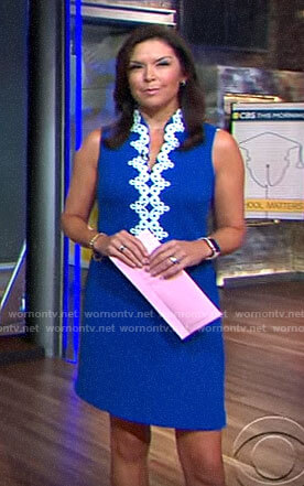 Meg Oliver's blue dress with white embroidery on CBS This Morning