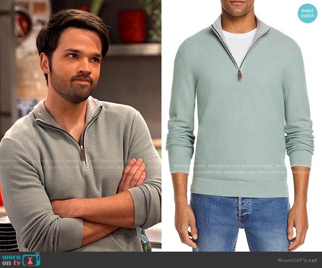 The Men's Store at Bloomingdale's Tipped Textured Birdseye Half Zip Sweater worn by Freddie Benson (Nathan Kress) on iCarly