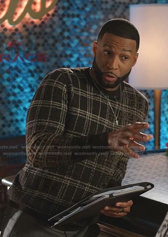 Michael's brown check sweater on Dynasty