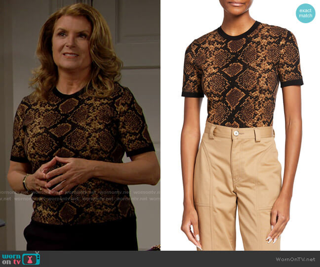 Michael Kors Collection Tipped Python Jacquard Tee worn by Sheila Carter (Kimberlin Brown) on The Bold & the Beautiful
