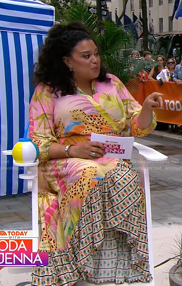 Michelle Buteau's tropical print wrap dress on Today
