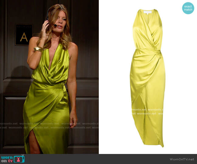 Michelle Mason Asymmetric halterneck silk dress worn by Phyllis Summers (Michelle Stafford) on The Young & the Restless