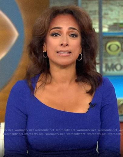Michelle Miller's blue asymmetric neckline dress on CBS This Morning
