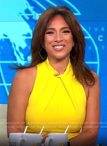 Michelle Miller's yellow twist neck dress on CBS This Morning