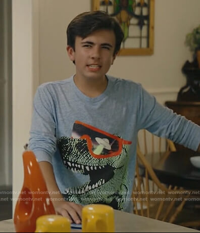 Mike's blue T-Rex graphic tee on Stargirl