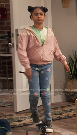 Millicent's pink windbreaker jacket and star print jeans on iCarly