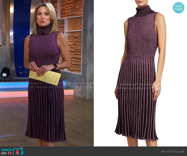Sleeveless Pleated Metallic Turtleneck Midi Dress by Milly worn by Amy Robach  on Good Morning America