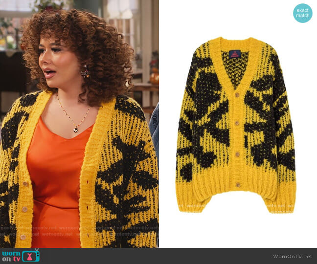 Yellow Arty Racoon Cardigan by The Animals Observatory worn by Jade (Talia Jackson) on Family Reunion