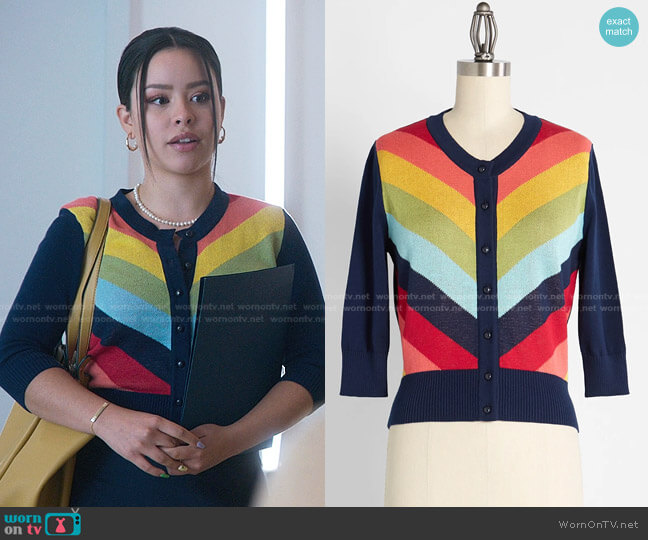 Serenity in Rainbow Cardigan by Collectif at Modcloth worn by Mariana Foster (Cierra Ramirez) on Good Trouble