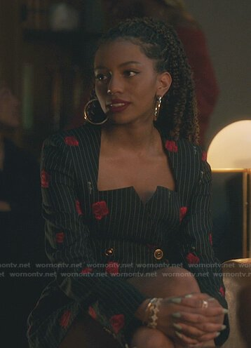Monet's black rose print pinstripe mini dress on Gossip Girl