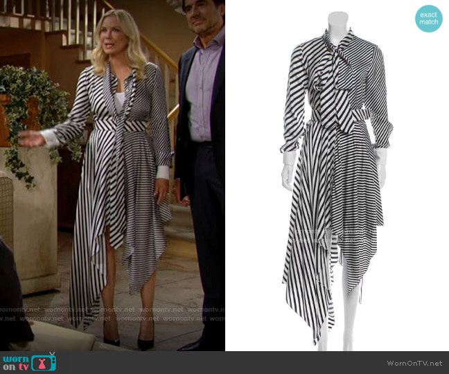 Monse Striped Silk Dress worn by Brooke Logan (Katherine Kelly Lang) on The Bold & the Beautiful