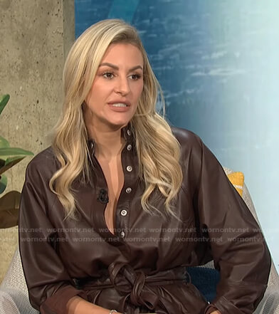 Morgan's brown leather shirtdress on E! News Daily Pop