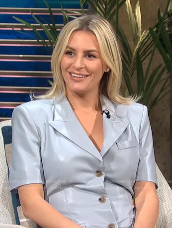 Morgan's blue leather shirtdress on E! News Daily Pop