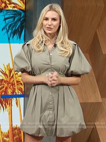 Morgan's gray puff sleeve dress on E! News Daily Pop