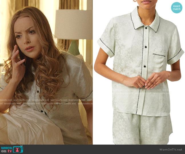 Tami Floral Jacquard Pajama Top by Morgan Lane worn by Fallon Carrington (Elizabeth Gillies) on Dynasty