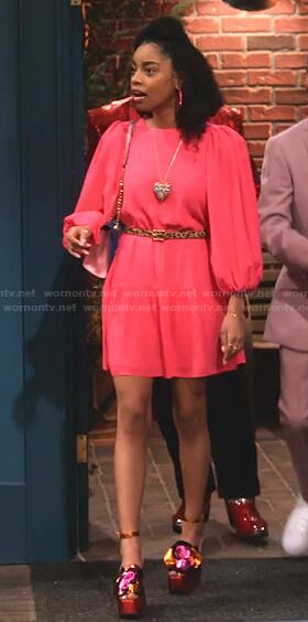 Morgan's pink gathered sleeve mini dress on Family Reunion