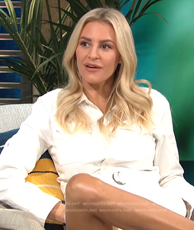 Morgan's white belted romper on E! News Daily Pop