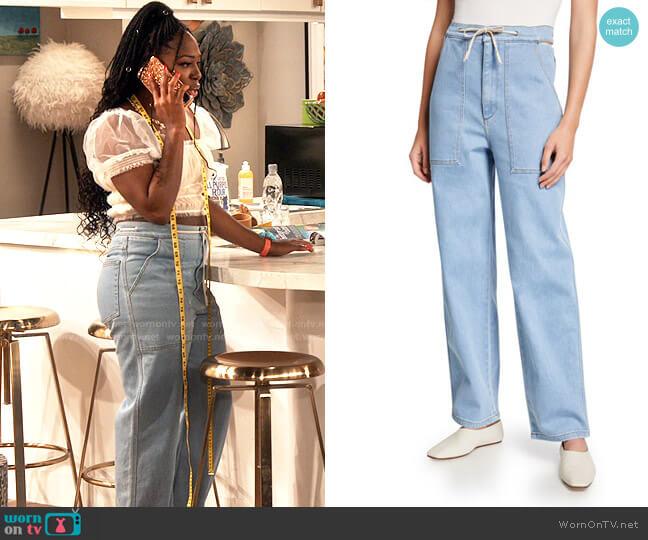 Nanushka Chace Barrel-Leg Denim Jeans worn by Harper (Laci Mosley) on iCarly