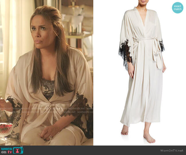 L'Amour Robe in champagne by Natori worn by Cristal Jennings (Daniella Alonso) on Dynasty