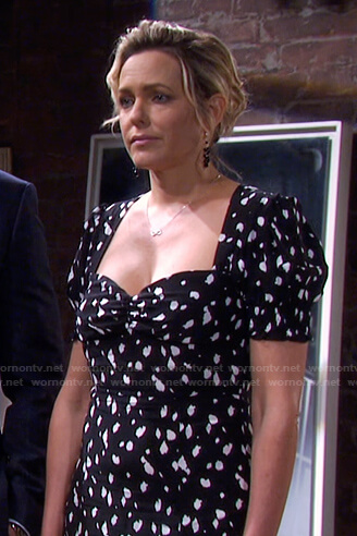 Nicole's black printed sweetheart dress on Days of our Lives