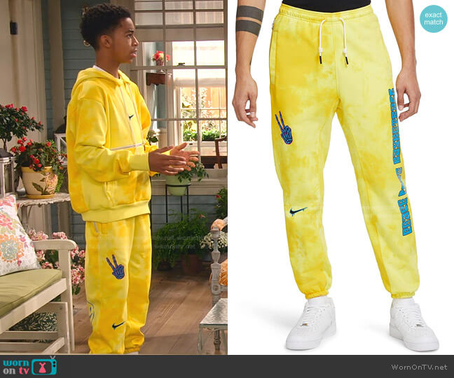 Peace Love Basketball Sweatpants by Nike worn by Shaka McKellan (Isaiah Russell-Bailey) on Family Reunion