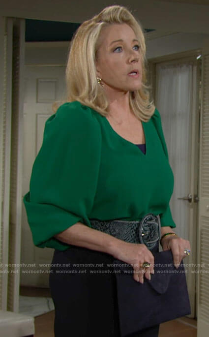Nikki's green v-neck blouse on The Young and the Restless