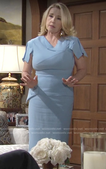 Nikki's light blue folded detail dress on The Young and the Restless