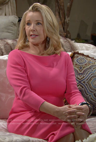 Nikki's pink side ruffle dress on The Young and the Restless