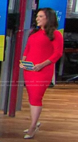 Nikki Battiste's red twist neck dress on CBS This Morning