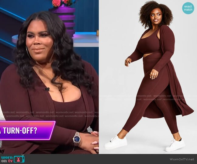 Trendy Plus Size Hacci Ribbed Duster by Nina Parker worn by Nina Parker  on E! News