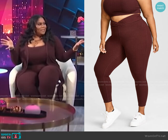 Trendy Plus Size Hacci Ribbed Leggings by Nina Parker worn by Nina Parker  on E! News