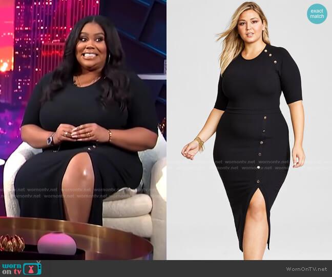 Trendy Plus Size Ribbed Midi Dress by Nina Parker worn by Nina Parker  on E! News