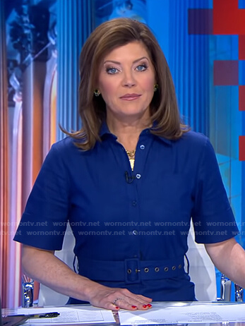 Norah's blue belted jumpsuit on CBS Evening News