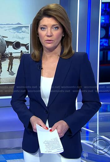 Nora's navy single breasted blazer on CBS Evening News